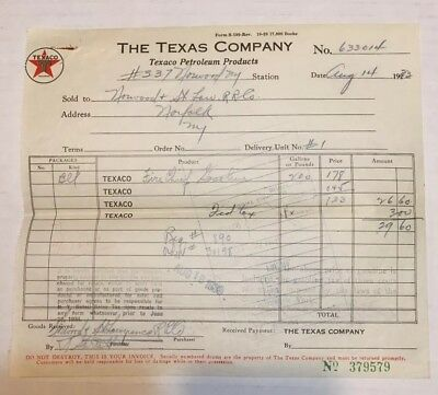 1933 The Texas Company Texaco Billhead Norwood
