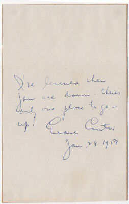 Eddie Cantor, popular singer, actor, and songwriter, autograph note signed
