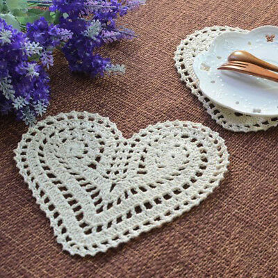 4Pcs/Lot Vintage Hand Crochet Lace Doilies Small Placemats Heart Pattern 8x6inch