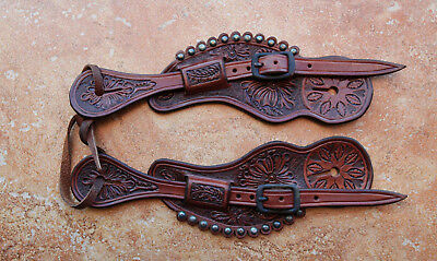LADIES Handmade Carved Light Brown Old West Style SPUR STRAPS By Pappas