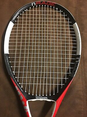 WILSON nCODE nRAGE OS OVERSIZE 110 TENNIS RACKET SYNTHETIC GUT NEW GRIP 4 1/2