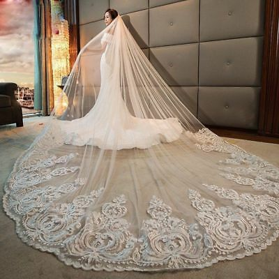 Cathedral Wedding Veils Bridal Accessories Comb Appliques White Ivory Bride Veil
