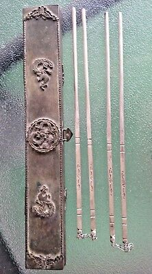 """2 pair 4 Vintage Sterling Silver Chopsticks 8"""" silver plated Chinese Dragon Case"""