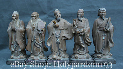 "9"" China Philosopher Handwork Pottery Porcelain Five Sage Confucius Lao Zi Set S"