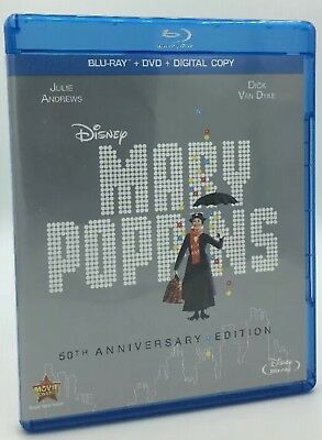 Disney Mary Poppins(Blu-Ray+Dvd+Digital)50Th Anniversary Edition New