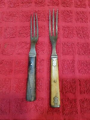 Vintage Civil War Era 3 Prong Forks Antique Primitive *bone and wood
