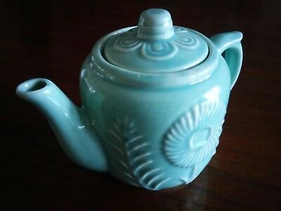 Vintage Ceramic Green Tea Pot With Lid Marked U S A With Floral Pattern.