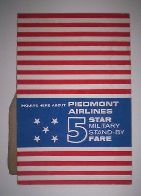 Vintage Piedmont Airlines 5 Star Military Stand-By Fare Counter Top Display Card