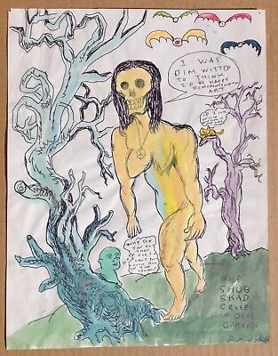"Daniel Johnston (B1961) ORIGINAL Mixed Media on Paper ""Dim Witted"" NR  Signed"