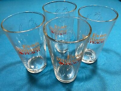 Collectible Advertising Set of 4 Evan Williams Peach Bourbon Glasses 16 oz