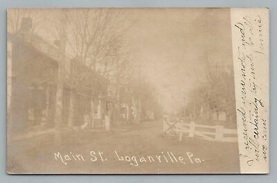 Loganville PA York County RPPC Antique Pennsylvania Main Street—Rare Photo 1907