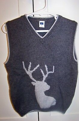 Janie And Jack Size 5 Boys Sweater Vest Gray With Deer Elk