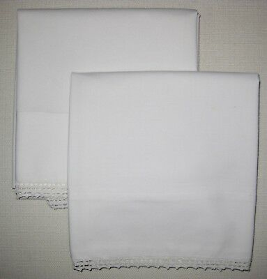Pair Vintage Queen Pillow Cases Crocheted Edge, White on White, Handmade No seam
