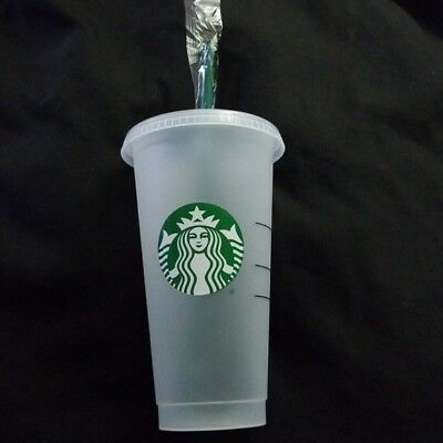 STARBUCKS Frosted Reusable 24 oz VENTI Clear Cold Cup Tumbler and Straw