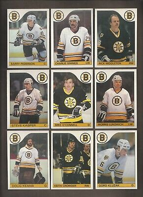 1985-86💎OPC Boston BRUINS Team Lot (11)  💎O Pee Chee NM-MT Hockey Cards