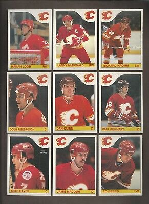 1985-86💎OPC Calgary FLAMES Team Lot (11)  💎O Pee Chee NM-MT Hockey Cards