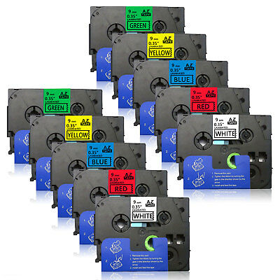 10PK TZe221-TZe721 colorful 9mm 0.35Compatible Brother Label Tape p-touch PTD210