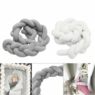 2/3M Infant Baby Plush Crib Bumper Bedding Bed Cot Braid Pillow Pad Protector GN