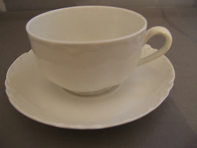 Haviland France China RANSON Schleiger 1 All White Cup & Saucer Sets Lovely!