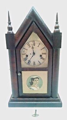 Vintage/Antique Waterbury Mantle Gothic Cathedral Clock w/Key USA/Works