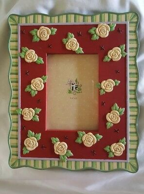 """Mary engelbreit ceramic photo frame red with roses 9""""x7 1/2"""" opening 3 1/2"""" ×5"""""""