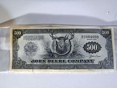 John Deere Money - $500 Certificate For Goods And Services Dealer Issue 1982