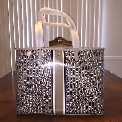 01431894f NWT Tory Burch Gemini Link Tote in French Gray Gemini Link Stripe/Gold