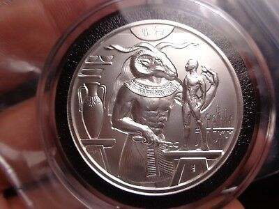 2 oz .999 Silver Khnum Round Egyptian God Series In Black Accent Ring Holder