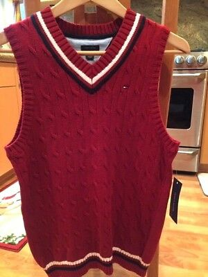 NWT Tommy Hilfiger Boys Large 16/18 V neck Red sweater vest 100% cotton