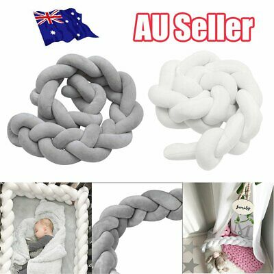 2/3M Infant Baby Plush Crib Bumper Bedding Bed Cot Braid Pillow Pad Protector EA