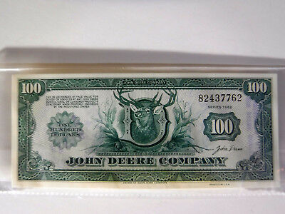 John Deere Money - $100 Certificate For Goods And Services Dealer Issue 1982