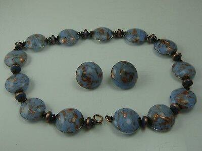 Vintage Made In Italy Murano Sommerso Sand Dollar Blue Necklace Earring Set