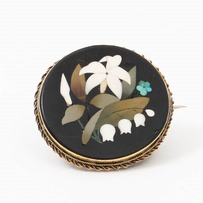 Antique Victorian Pietra Dura Italian Pin Brooch Inlaid Mosaic Flowers 14k Gold