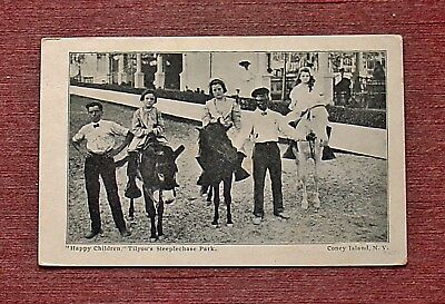 Children Donkey Ride Black Americana Coney Island Brooklyn New York City