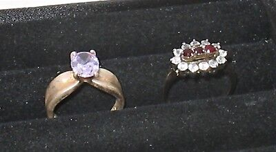 Lovely Vintage Cocktail Ring LOT Size 7 Sterling Amethyst Faux Ruby Rhinestone