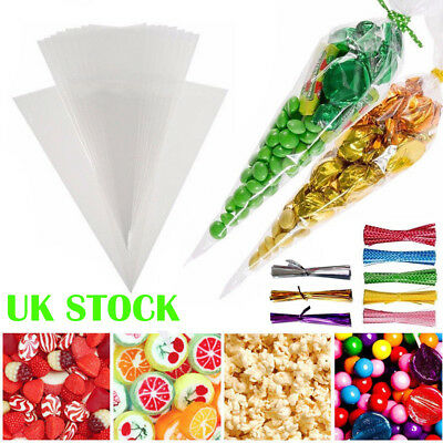 50/100* Clear Cellophane Cone Bags Twist Ties Party Sweet Cello Candy Large size