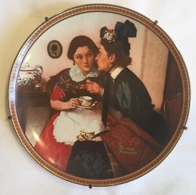 """**Ltd Ed** MOUNTED Norman Rockwell """"Gossiping in the Alcove"""" Collector Plate"""