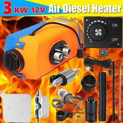 12V 3KW Diesel Air Heater Tank Vent Duct Knob Thermostat Silencer Motorhome RV~~