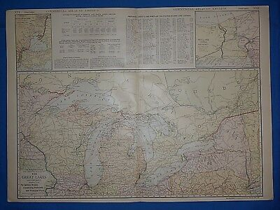 Vintage 1914 GREAT LAKES & VICINITY Map ~ Old Antique Original Atlas Map
