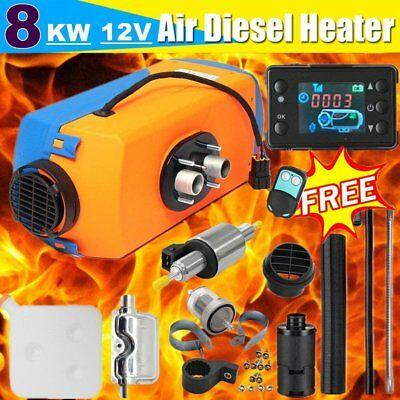 12V 8KW Diesel Air Heater Tank Vent Duct LCD Thermostat Silencer Car RV Boat SM