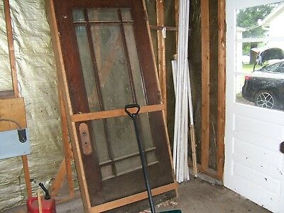 "Antique Arts & Crafts Style Oak Door Beveled Glass Prehung 35.5"" W X 6' 9"" Tall"