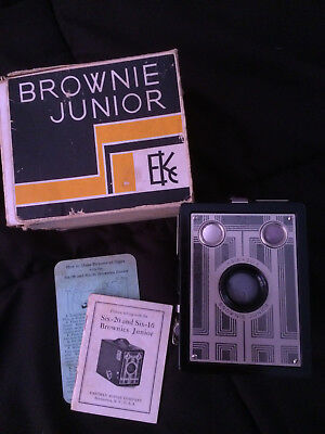 Authentic vintage Kodak Brownie Junior Six-20 box camera with booklet