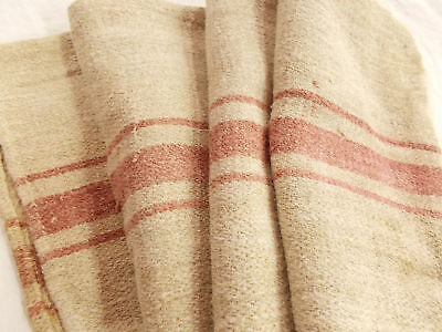 Vtg Antique BRICK STRIPE European HEMP LINEN FEED SACK GRAIN BAG 20X50