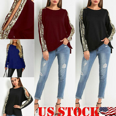 Fashion Women Ladies Autumn Winter Long Sleeve Crew Neck Tops Blouse T-shirt