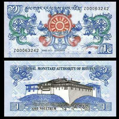 Bhutan 1 Ngultrum Banknote, 2013 NEW Design, P-27, UNC, Asia Paper Money
