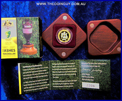 2007 Australian $10  The Ashes 125 Years 1/10th 24 ct 999 Proof