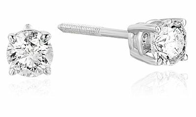 1/2 cttw Certified Diamond Stud Earrings 14K White Gold I1-I2 Clarity, I-J Color