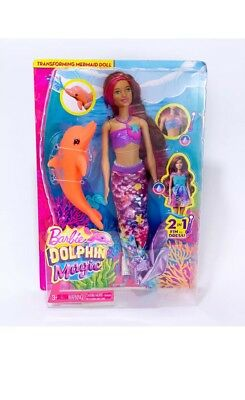 Barbie Dolphin Magic Transforming Mermaid Doll Water Color Changing Brunette