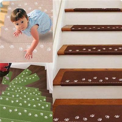 NEW Self Adhesive Anti-Skid Treads Mat Stair Carpet Pad Light Dark Household OO
