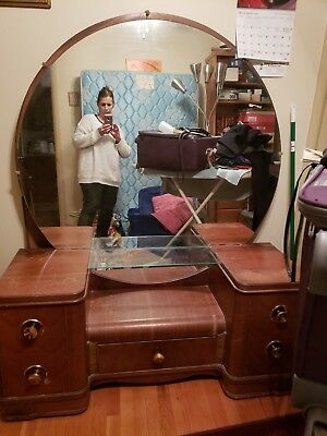 Antique Vanity Makeup Table & Mirror with bench